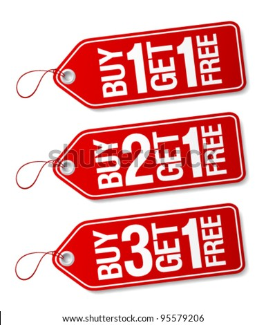 Buy one get one free promotional sale labels set.