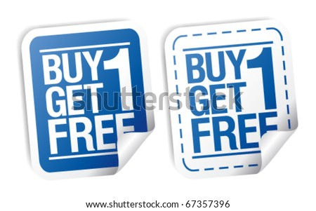 Buy one get one free, promotional sale stickers set. - stock vector