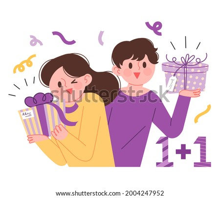 Buy one, get one more! One Plus One Deal Event Concept Vector Illustration. Cute men and women each holding a gift.