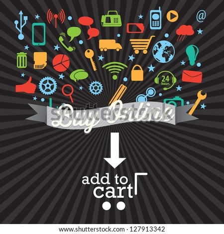Buy Online (add to cart) with Icons. On black background. Vector