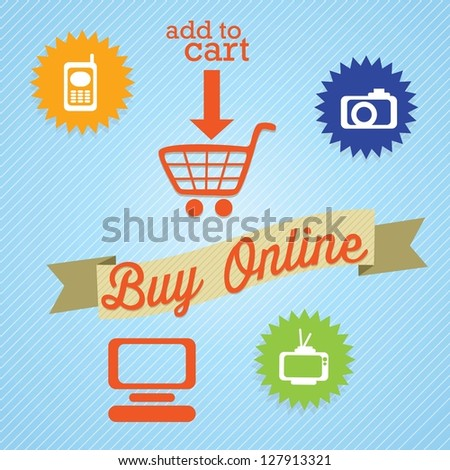 Buy Online (add to cart) with imedia icons. On blue background. Vector