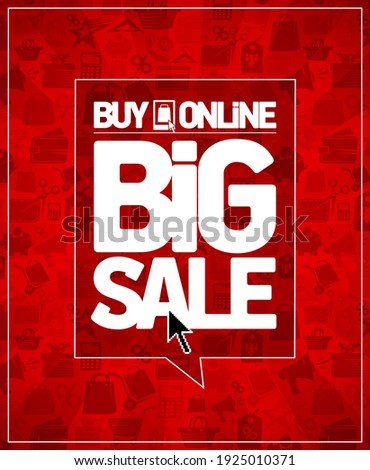 Buy online big sale vector banner template, trade symbols on a bright red backdrop