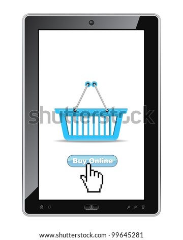 Buy online button on tablet pc realistic vector illustration.