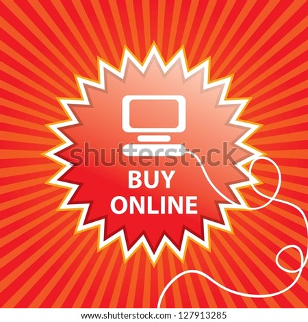 Buy Online button (text bubble) On red and orange background. Vector Illustration