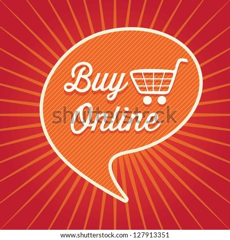Buy Online concept (text bubble) On red and orange background. Vector Illustration