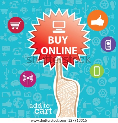 Buy Online label with, media Icons and hand. On blue background