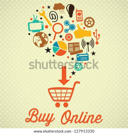 Buy Online Retro colors icons. On vintage background