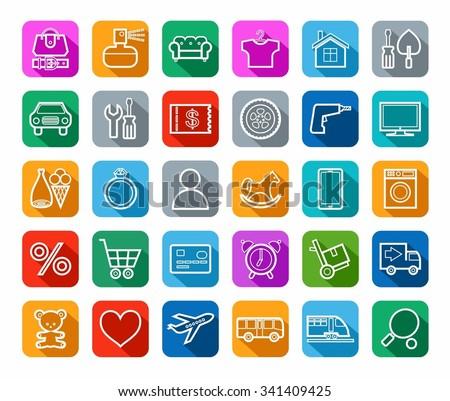 Stock Vector Buy Online Shop Categories Goods Icons