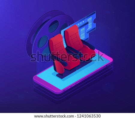 Buy or order cinema tickets online with smartphone, movie comfortable seats. Buying tickets online, e-commerce shopping , internet booking concept. Ultraviolet neon vector isometric 3D illustration.