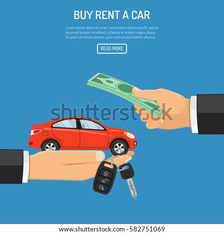 buy or rental car concept with flat icons. hand holding car keys, other hand gives money. Isolated vector illustration.