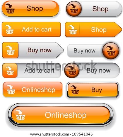 Buy web orange buttons for website or app. Vector eps10.