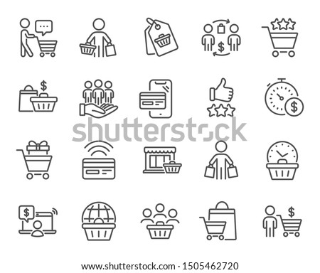 Buyer customer line icons. Contactless payment card, shopping cart and group of people. Store, buyer loyalty card, client ranking set icons. Shopping timer, phone payment, currency. Vector set