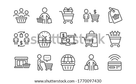 Buyer customer line icons set. Contactless payment card, shopping cart and group of people. Store, buyer loyalty card, client ranking set icons. Shopping timer, online payment, currency. Vector