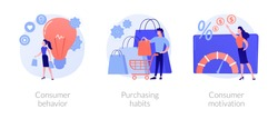 Buyer persona and purchase decision process. Customer buying, shopping habits. Consumer behavior, purchasing habits, consumer motivation metaphors. Vector isolated concept metaphor illustrations.