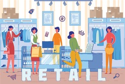 Buyers in Retail Clothes Store Word Concept Banner. Shoppers Choosing Clothing Items in Fashion Boutique Cartoon Characters. Female Customers Buying Garments. Shopping Mall Promo Poster Design