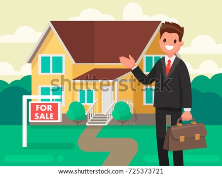 Buying a new home. The realtor shows the house for sale. Vector illustration in a flat style