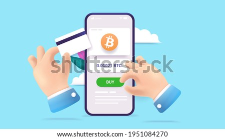 Buying Bitcoin online - Vector 3d illustration of hands purchasing crypto currency on mobile phone with credit card.