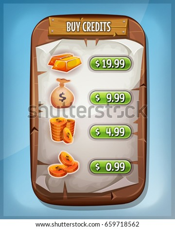 Buying Credits Interface For Ui Game/ Illustration of a funny cartoon wood panel, with buying credits levels and price options, coins, dollar bag and gold ingot, for game ui app on tablet pc