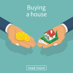 Buying house. Agent of real estate holding in hand house, key. Buyer, customer gives gold coin. Deal sale and purchase of real, concept. Vector illustration flat isometric design. Money home.