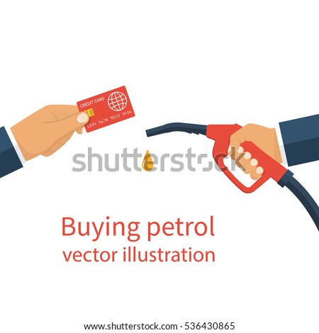 Buying petrol, concept. Payment for fuel. Credit card in hand man and fuel pump. Petrol station. Vector flat design style on a white background. Template for gasoline prices. Cashless payments.