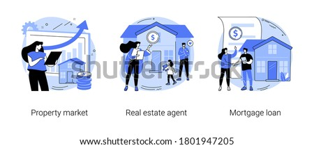 Buying property abstract concept vector illustration set. Property market, real estate agent, mortgage loan, new appartment, property investment, bank credit, down payment, pay off abstract metaphor. Foto stock ©