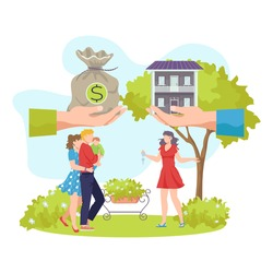 Buying property, vector illustration. Happy clients have bought house and receive keys to habitation. Successful business transaction.
