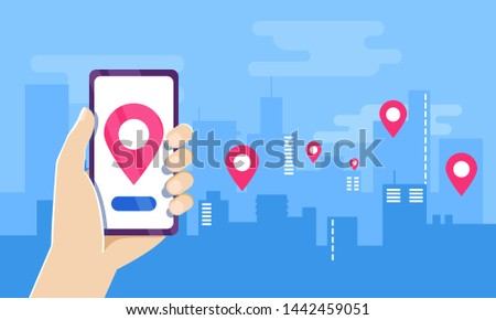 Buying, selling and renting flat, apartment, loft, home network rental property agency. flat vector. apartment navigation position, search Ideally placed apartment application on phone screen in hand