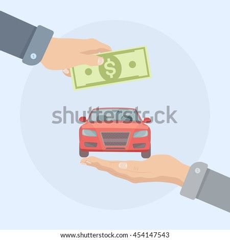 Buying, shopping new car. Automobile dealership. Rental or sale concept. Businessman hand holds money, dollar bill and auto. Vector illustration. Flat style design