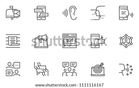 Buzz Marketing Vector Line Icons Set. Digital Marketing, Omni-channel, Multichannel Marketing, Brand Awareness. Editable Stroke. 48x48 Pixel Perfect.