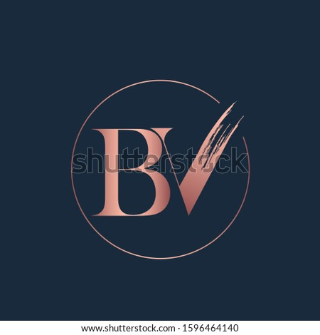 BV monogram logo with circle frame.Typographic serif letter b and letter v icon.Lettering sign.Alphabet initials in rose gold metallic color isolated on dark background.Elegant, beauty,fashion style.