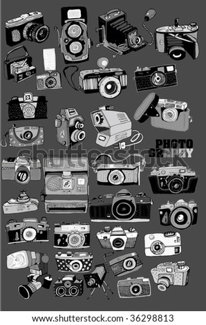 BW Photo Cameras (hand drawn vector)