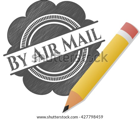 By Air Mail drawn with pencil strokes