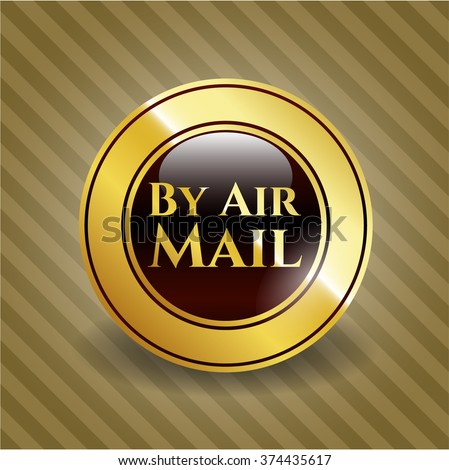 By Air Mail golden badge or emblem
