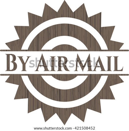 By Air Mail retro style wooden emblem