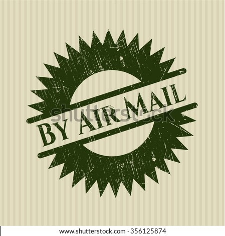 By Air Mail rubber stamp with grunge texture