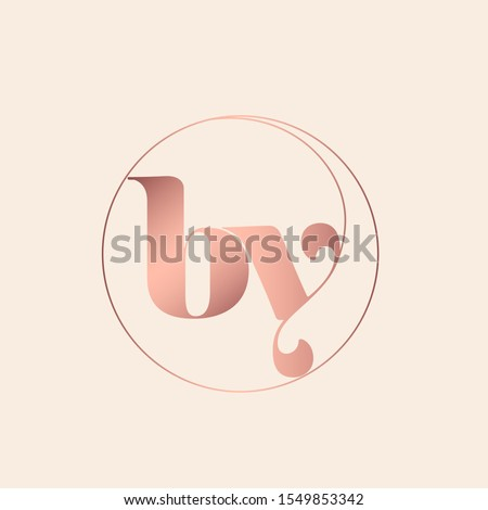 BY monogram logo.Typographic icon with metallic pink letter b and letter y.Lowercase lettering sign with circular frame.Alphabet initials isolated on light fund.Modern,luxury,beauty,boutique style.
