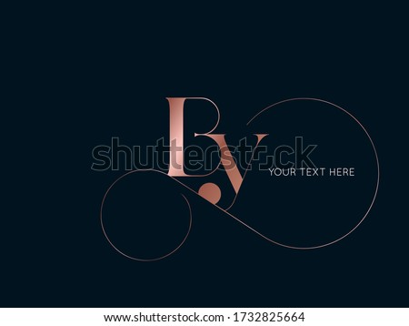 BY monogram logo.Typographic icon with serif letter b and letter y. Lettering icon. Alphabet initials isolated on dark background.Signature style elegant sign luxury characters and decorative swirl. Foto stock ©