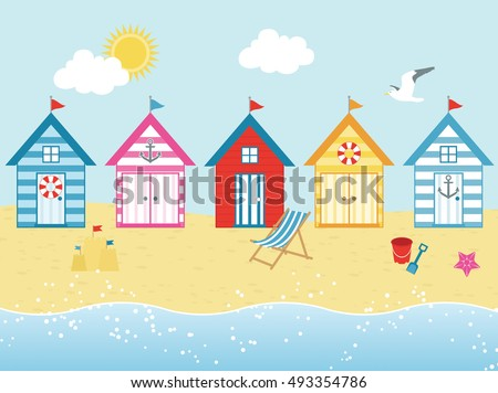 by the seaside   beach huts in