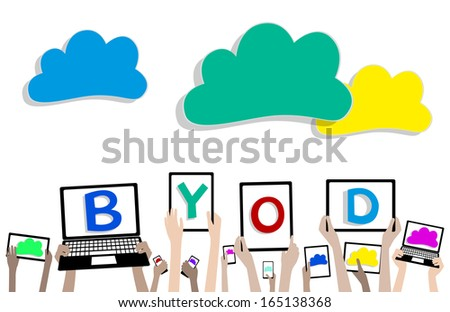 BYOD Bring Your Own Device Cloud Computing Banner - Children Hands with Computers and Tablets