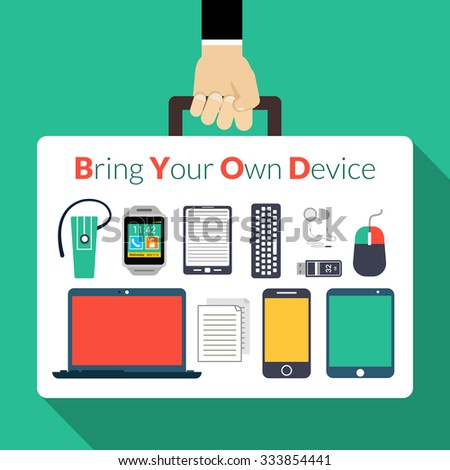 Byod concept with human hand holding briefcase with electronic gadgets vector illustration