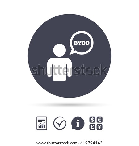 BYOD sign icon. Bring your own device symbol. User with speech bubble. Report document, information and check tick icons. Currency exchange. Vector