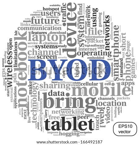 BYOD vector - bring your own device concept in tag cloud