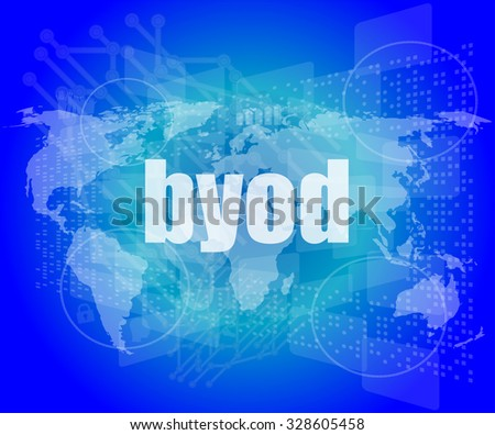 byod word on digital screen, mission control interface hi technology vector illustration