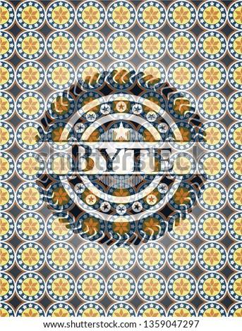 Byte arabic badge background. Arabesque decoration.