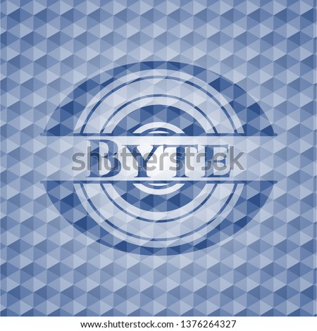 Byte blue badge with geometric pattern background.