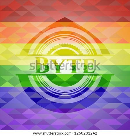 Byte emblem on mosaic background with the colors of the LGBT flag
