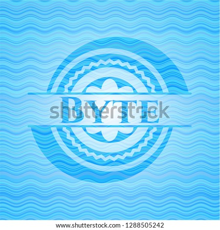 Byte light blue water badge background.