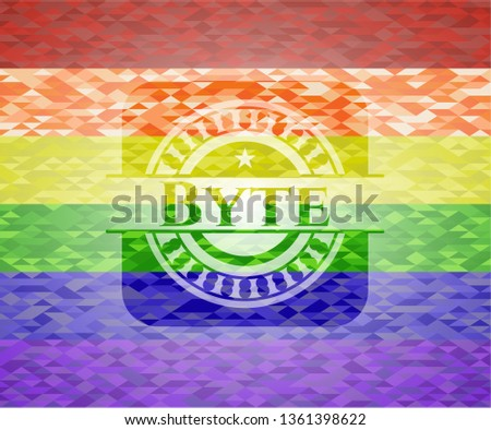 Byte on mosaic background with the colors of the LGBT flag
