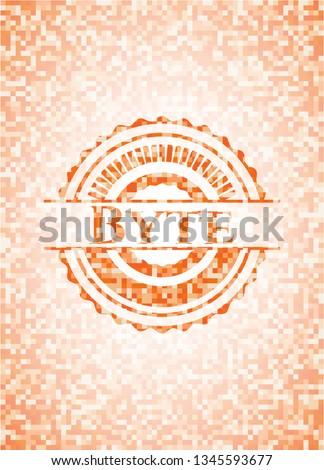 Byte orange mosaic emblem with background