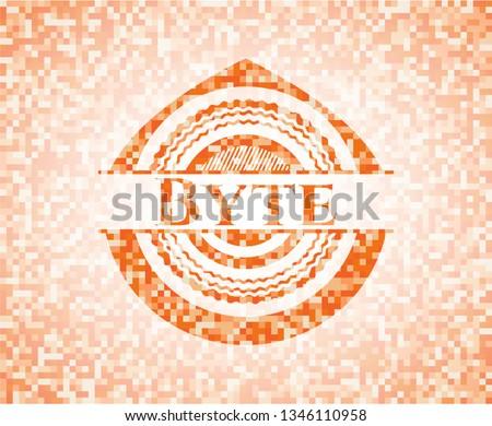 Byte orange tile background illustration. Square geometric mosaic seamless pattern with emblem inside.